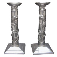 Sterling Silver Chinese Dragon Candlesticks