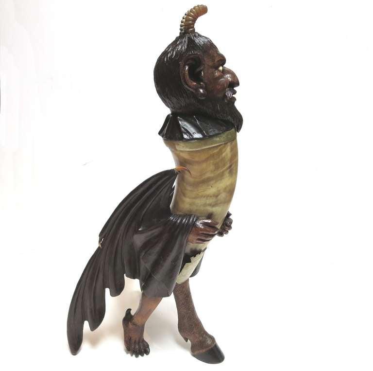 Elaborately Carved Devil Horn Flagon At 1stdibs