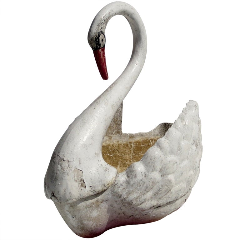 Large Painted Concrete Swan Planter
