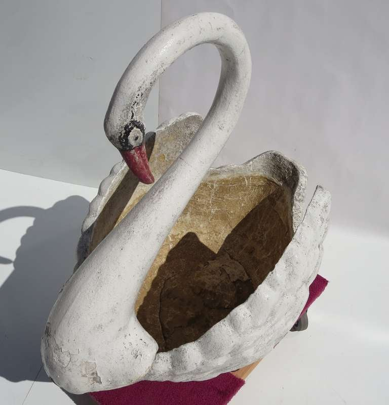 Mid-Century Modern Large Painted Concrete Swan Planter For Sale