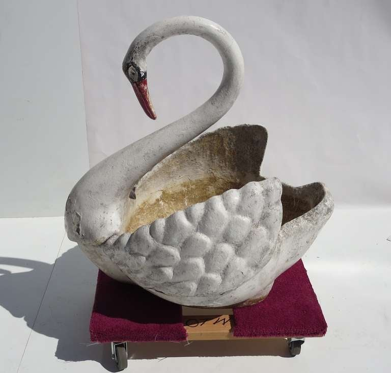American Large Painted Concrete Swan Planter For Sale