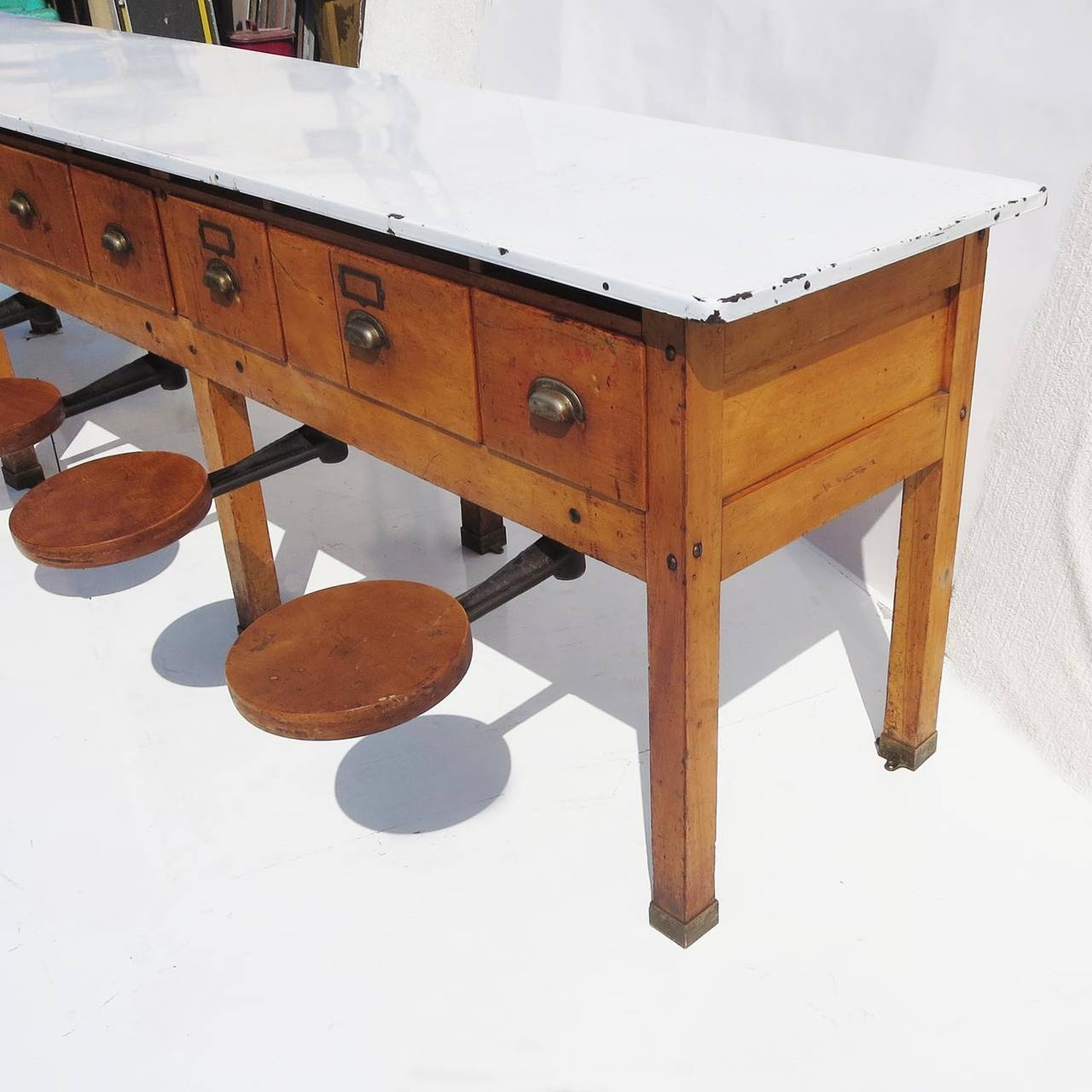 American Early 20th Century Institutional Work Table With Pull Out Seats For