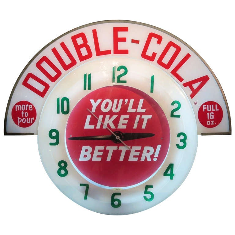 Double Cola Neon Advertising Wall Clock At 1stdibs