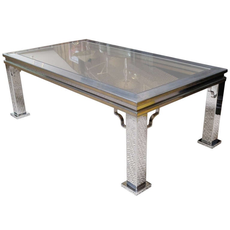 Maison Jansen Style Chrome And Glass Coffee Table For Sale
