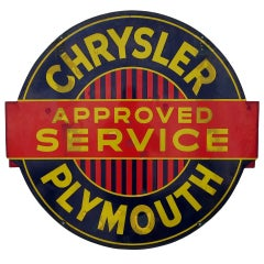 Chrysler Plymouth Double Sided Porcelain Enameled Sign
