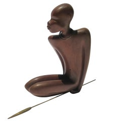 Stylized Art Deco African Native Sculpture by Hagenauer