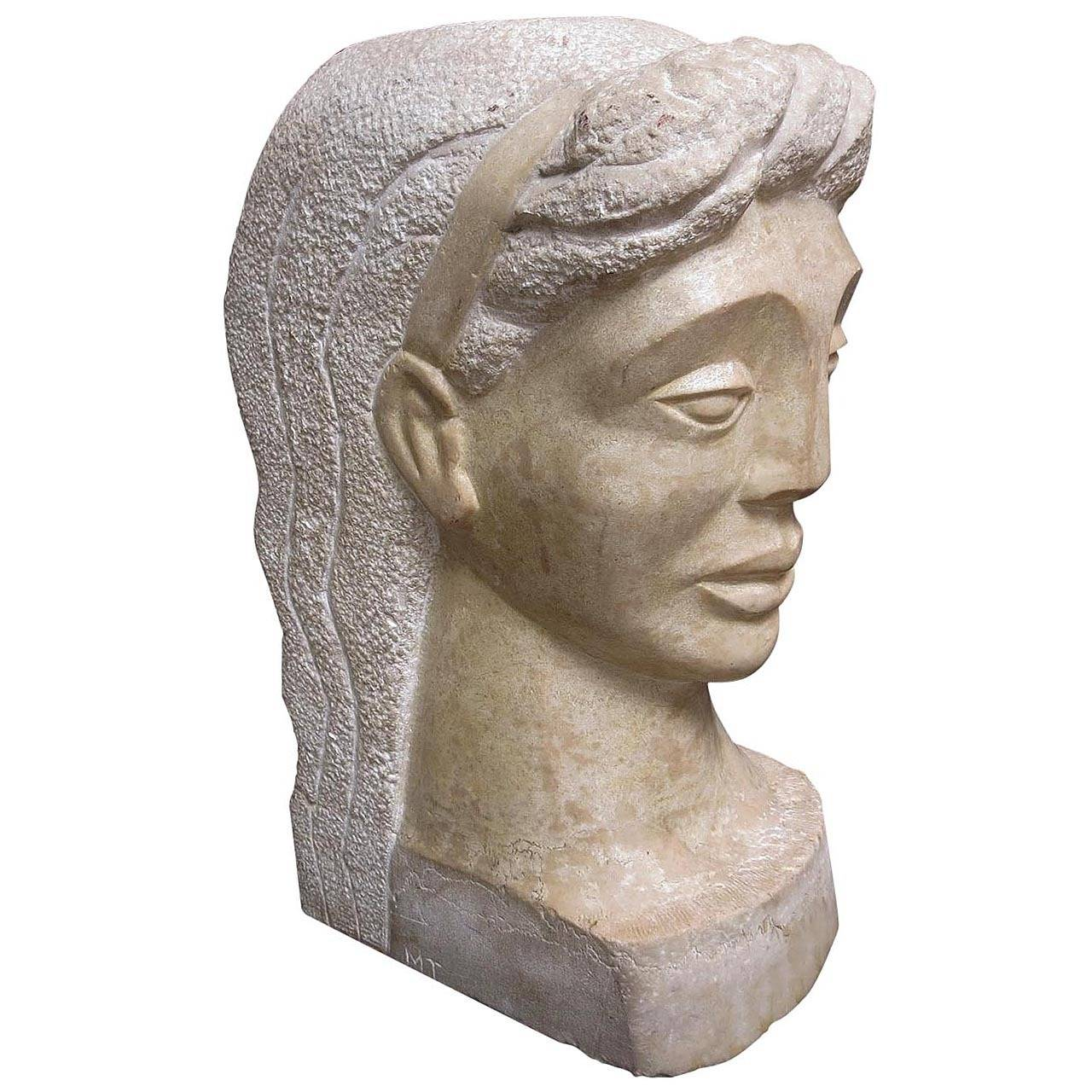 "Art Deco Marble Bust Signed ""MT"" For Sale"