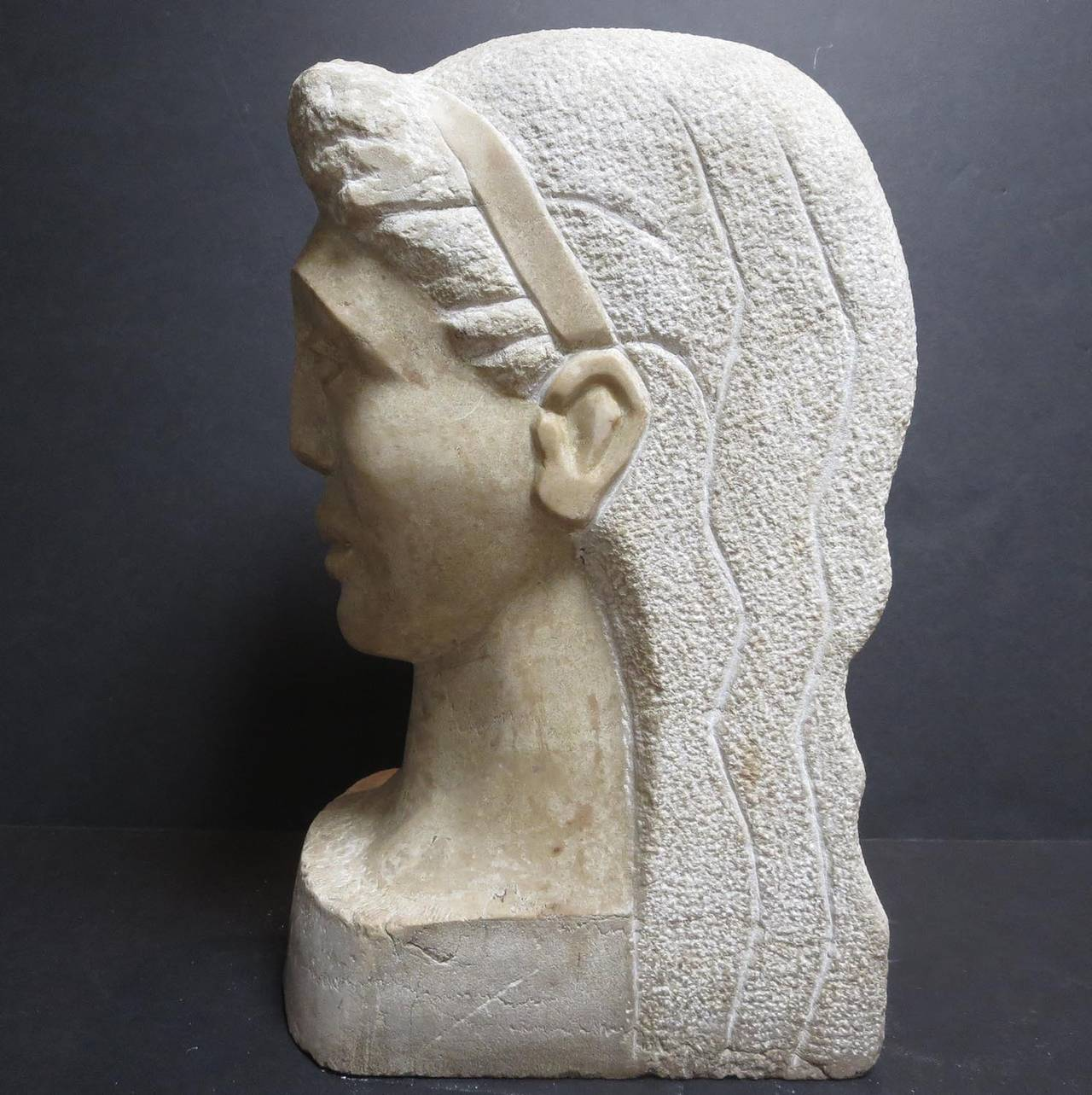 "American Art Deco Marble Bust Signed ""MT"" For Sale"