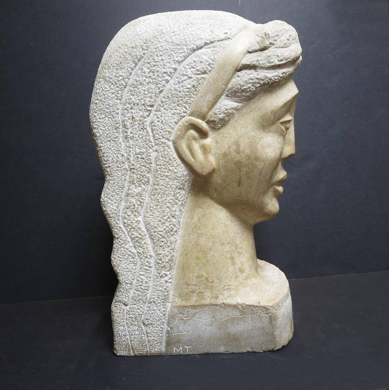 "Mid-20th Century Art Deco Marble Bust Signed ""MT"" For Sale"