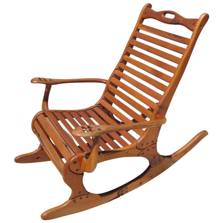 Hand Carved Rocker By Jocko Johnson At 1stdibs