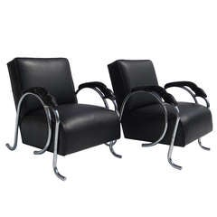 Unique Art Deco Club Chairs With Dragon Arms
