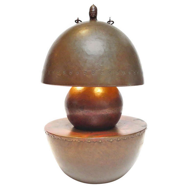 Stylized Hammered Copper Lamp in the Manner of Dirk Van Erp For Sale