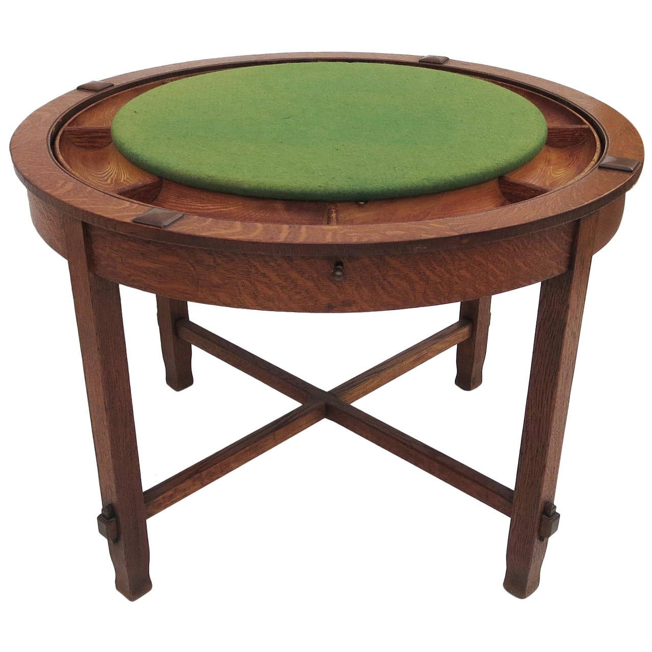 Early 20th century craftsman oak flip top game table at for Table th rotate