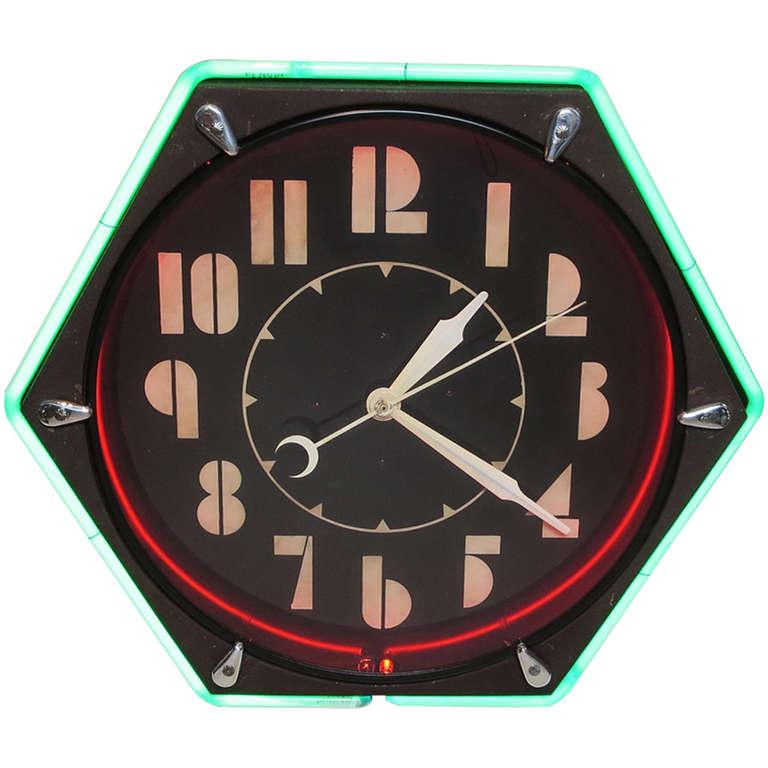 Art Deco Hexagon Neon Wall Clock At 1stdibs