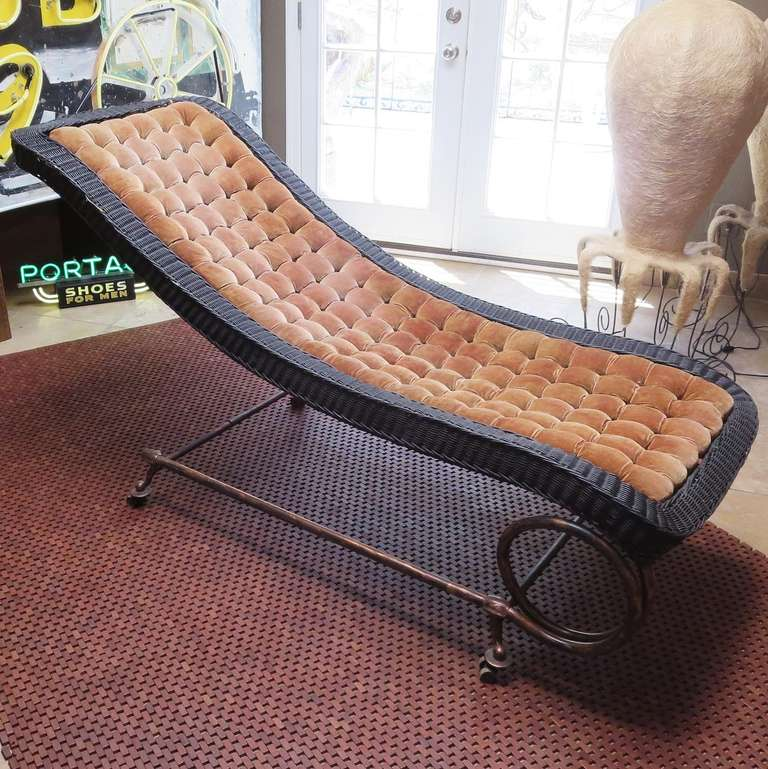 1920s chaise in wicker velvet and copper at 1stdibs for 1930s chaise lounge