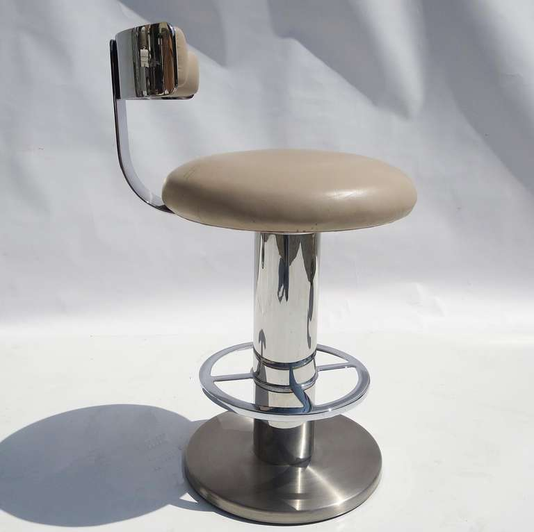 Stylized Chrome And Leather Barstools By Design For