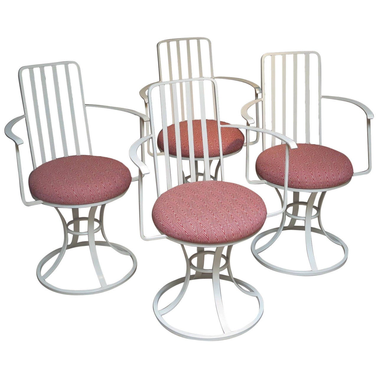 Mid Century Set of Four Painted Iron Patio Chairs at 1stdibs