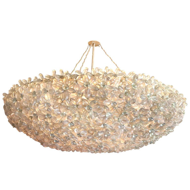 """Lucite Floral """"Neblina"""" Chandelier Two Available"""
