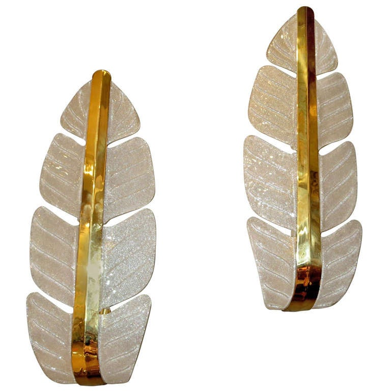 Oversized Murano Glass Palm Leaf Wall Sconces attributed to Barovier e Toso For Sale