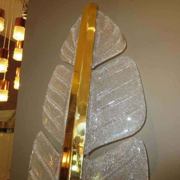 Mid-Century Modern Oversized Murano Glass Palm Leaf Wall Sconces attributed to Barovier e Toso For Sale
