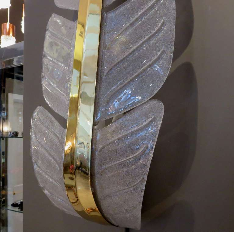 Italian Oversized Murano Glass Palm Leaf Wall Sconces attributed to Barovier e Toso For Sale
