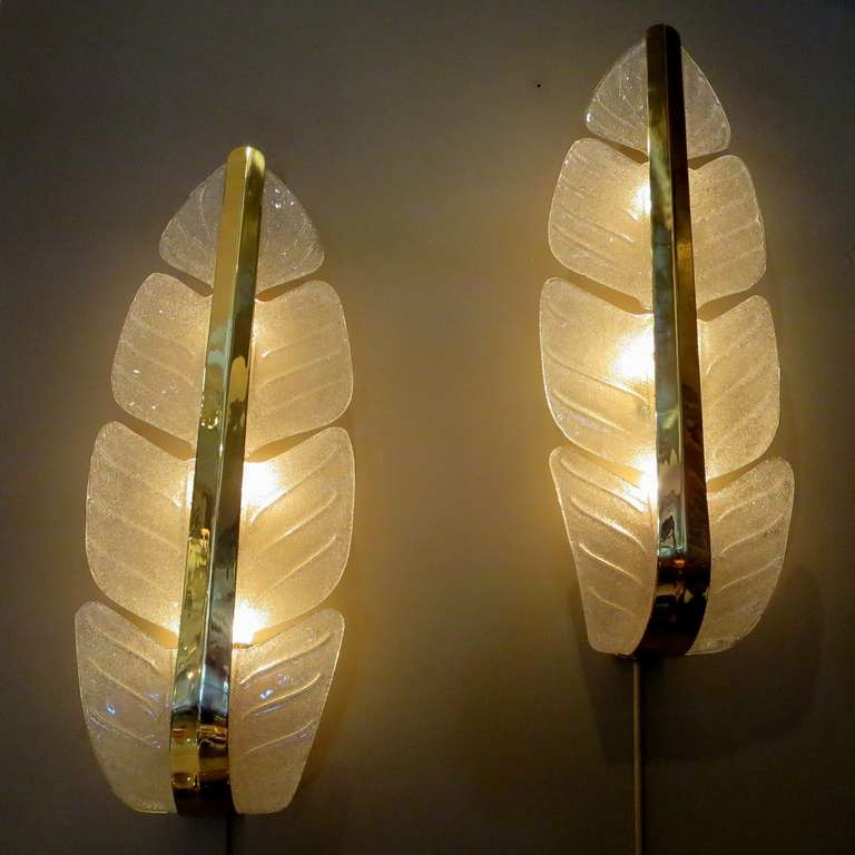 Late 20th Century Oversized Murano Glass Palm Leaf Wall Sconces attributed to Barovier e Toso For Sale