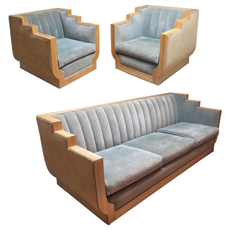 Art deco style sofa set in two toned mohair at 1stdibs for Art deco style sofa