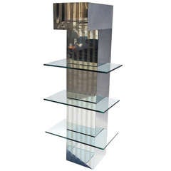 Mirrored Steel and Glass Lighted Hanging Display Unit