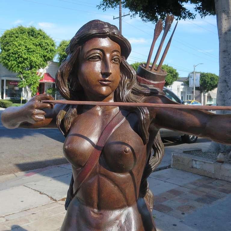 20th Century Amazing Large Carved Wood Centaur -ess Folk-art Sculpture For Sale