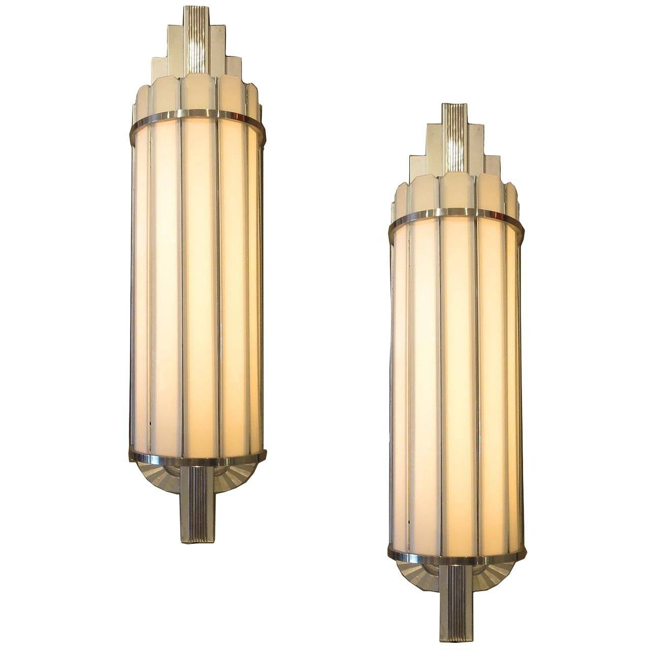 Wall Sconces Deco : Art Deco Large Theater Wall Sconces at 1stdibs