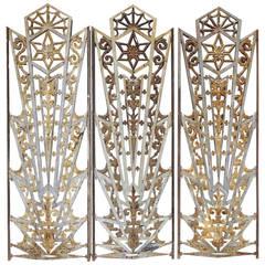 Art Deco Cast Iron Grates, Set of Three