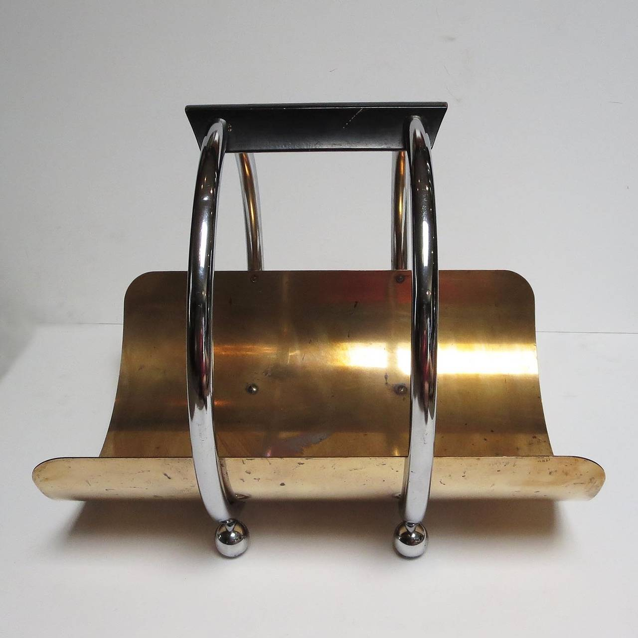 Art Deco Log Basket : Art deco log holder by leslie beaton for revere at