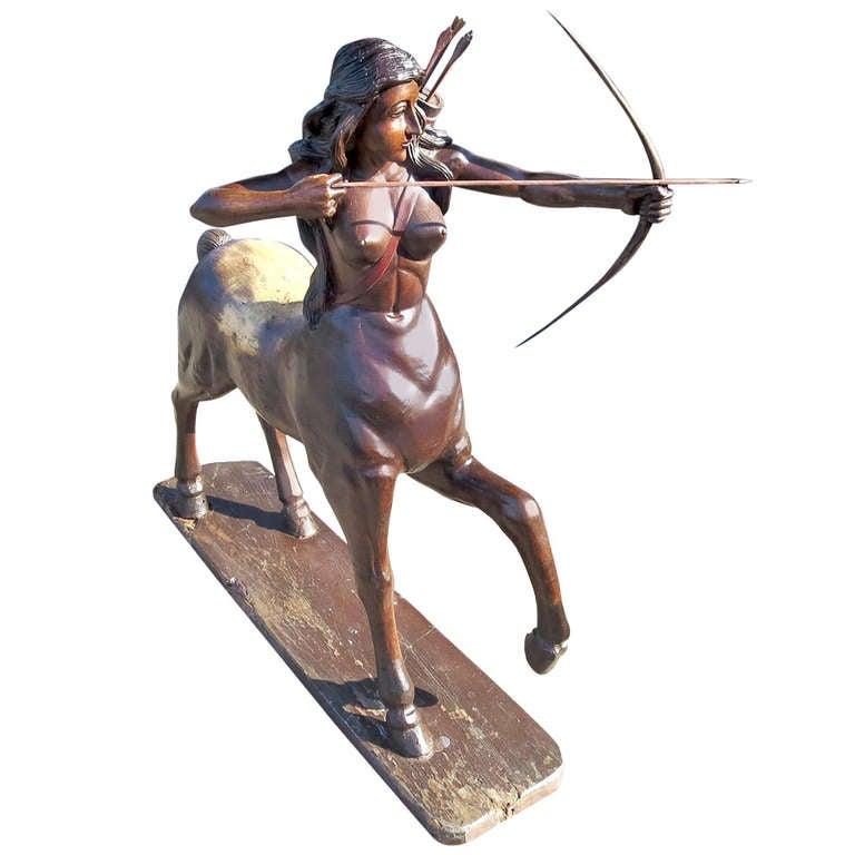Amazing Large Carved Wood Centaur -ess Folk-art Sculpture For Sale