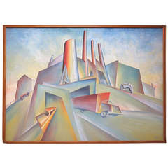 Large Cubist Industrial Oil Painting by Norman Barr
