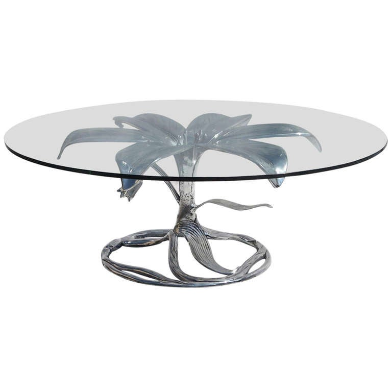 """Arthur Court """"Lily"""" Coffee Table in Polished Aluminum"""