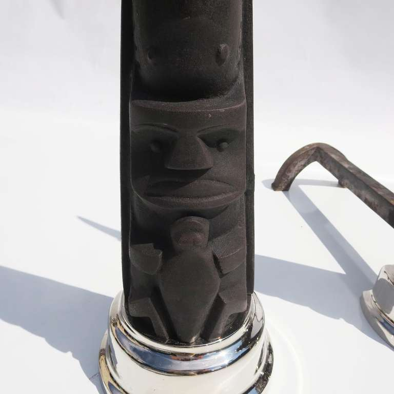 Art Deco Cubist Totem Andirons In Good Condition For Sale In Los Angeles, CA