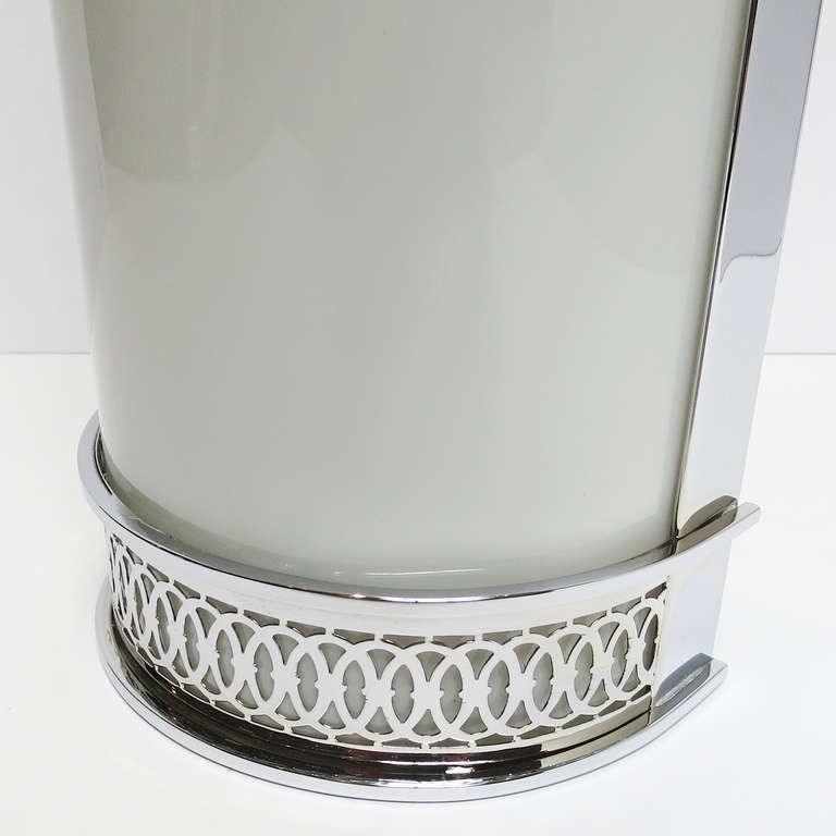 Art Deco Glass Wall Sconces : Art Deco Rounded Glass and Chrome Wall Sconces at 1stdibs