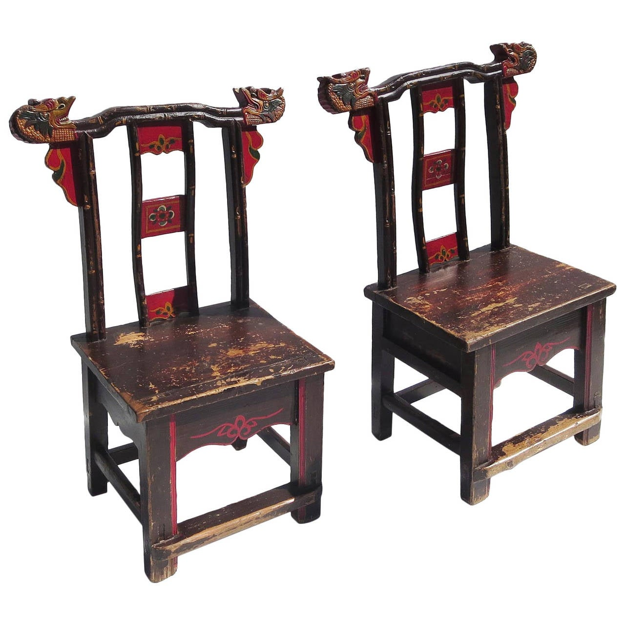 Charming carved and painted asian dragon chairs for sale for Asian chairs for sale