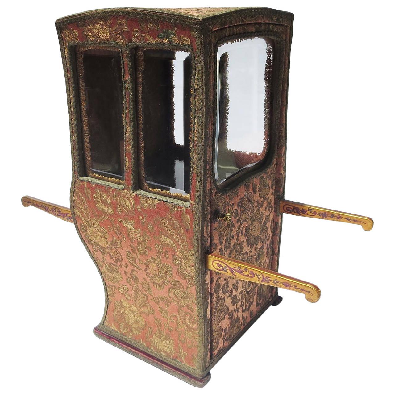 Hand Carried Chair >> Miniature Silk Sedan Chair Vitrine or Jewelry Case at 1stdibs
