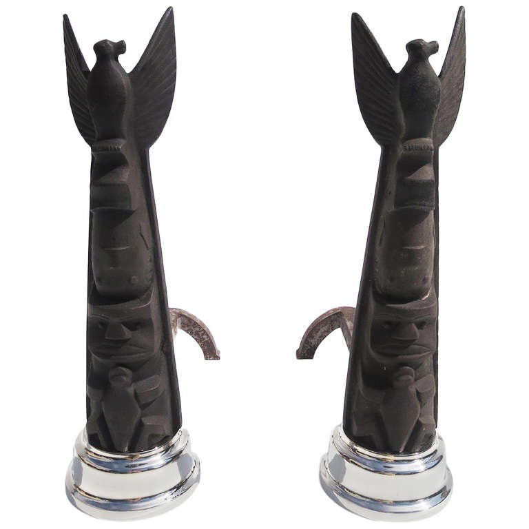 Art Deco Cubist Totem Andirons For Sale