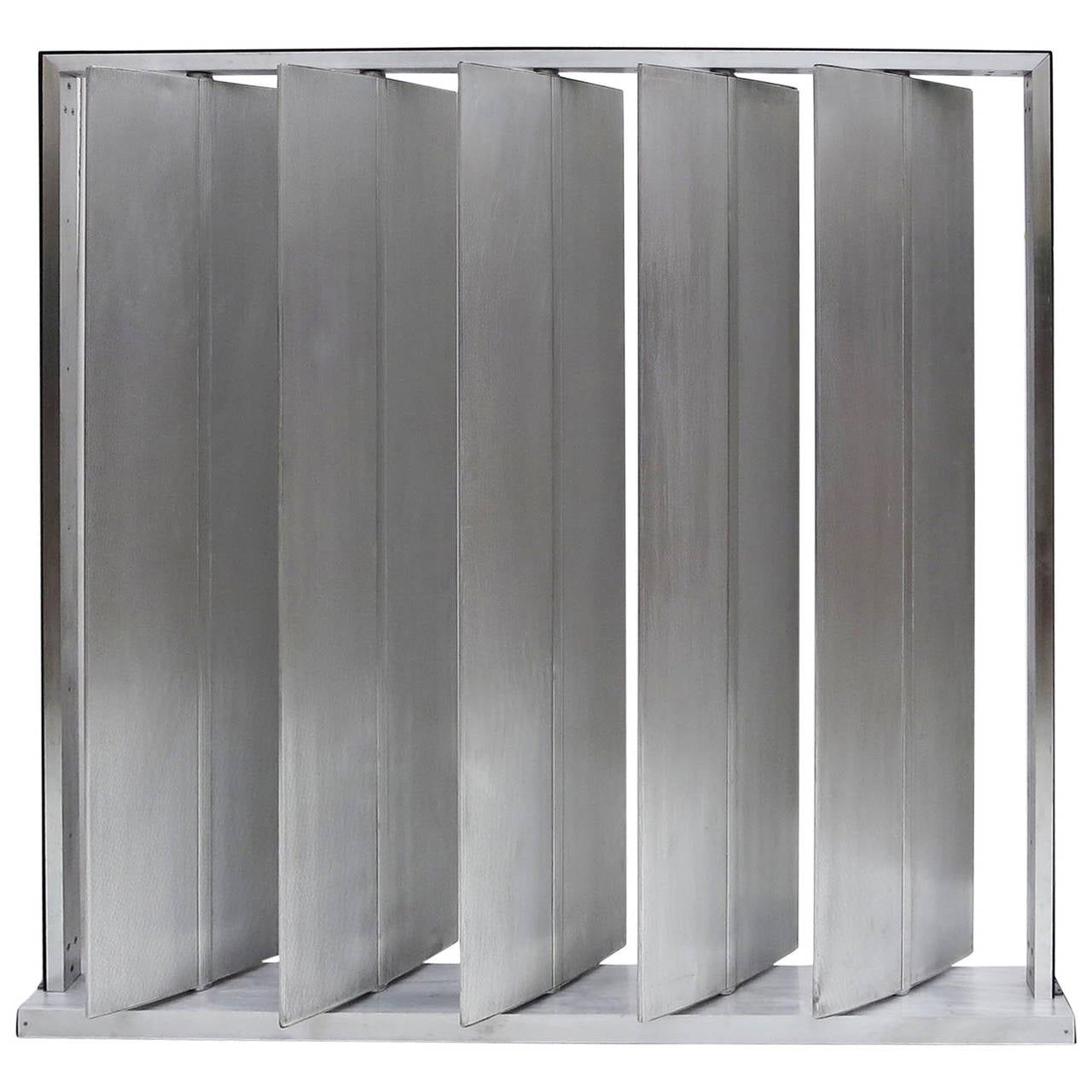 Louvered Metal Room Divider In The Manner Of Jean Prouv 1
