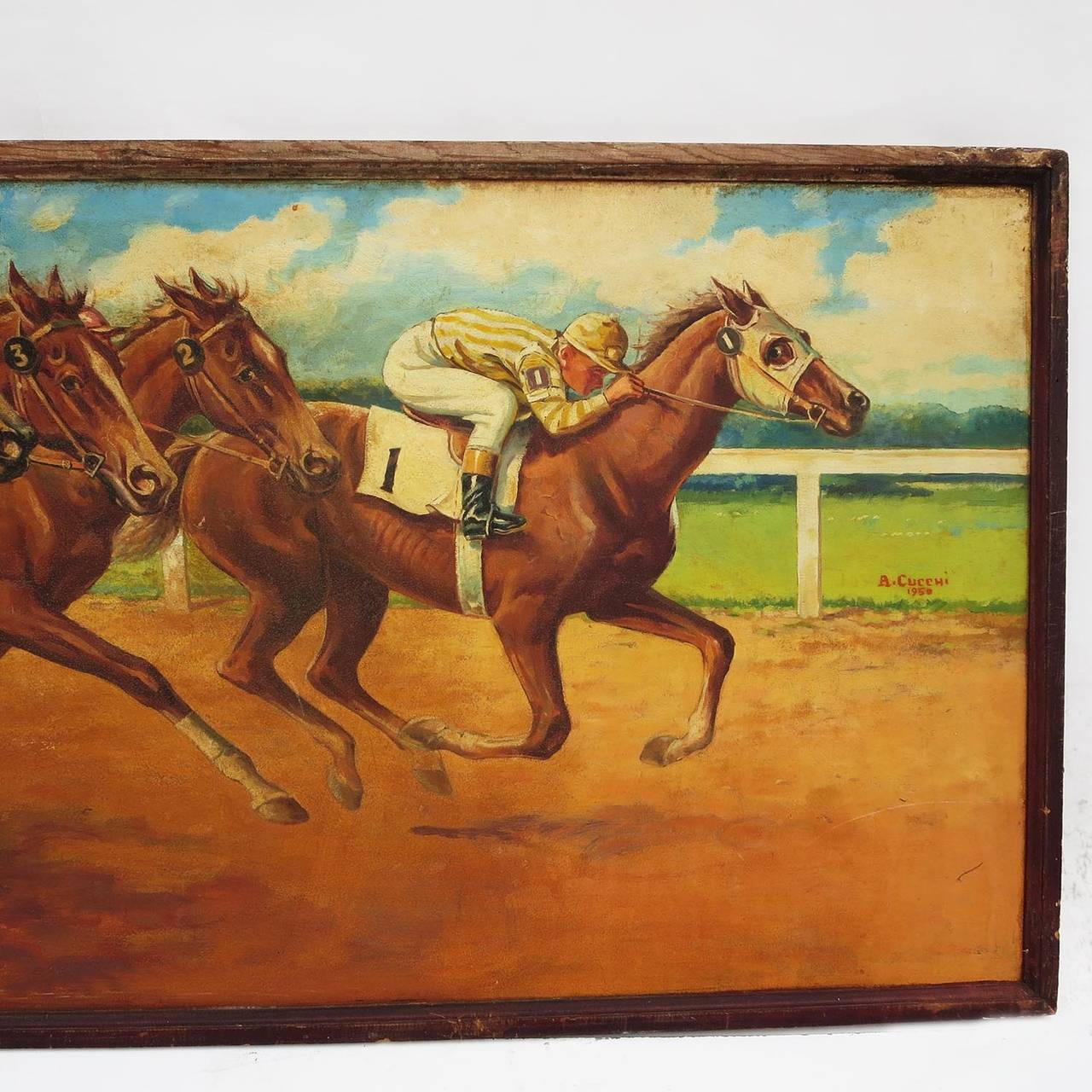 Starting gate oil painting by anthony j cucchi 1950 at for How to start oil painting