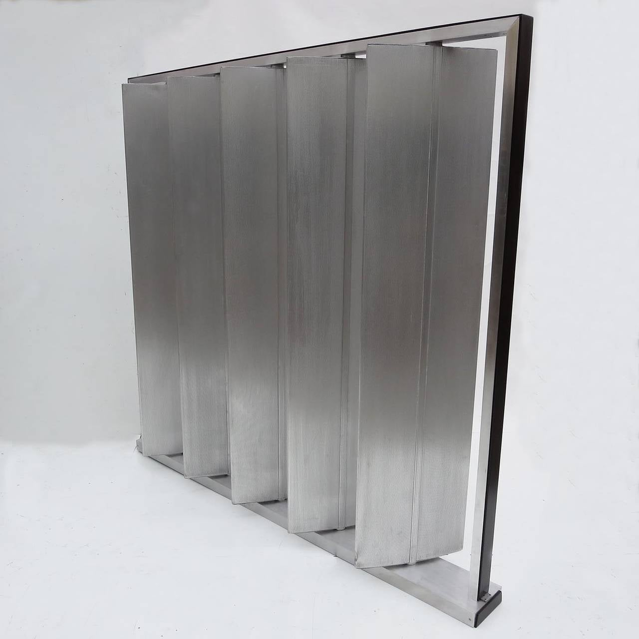 American Louvered Metal Room Divider in the Manner of Jean Prouvé For Sale