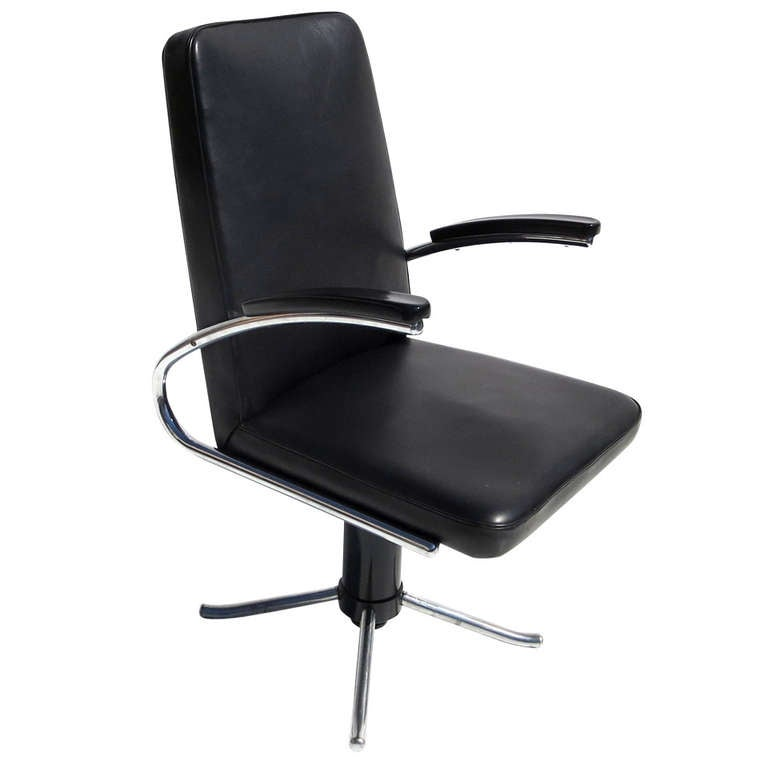 rare leather and chrome desk chair by mauser at 1stdibs