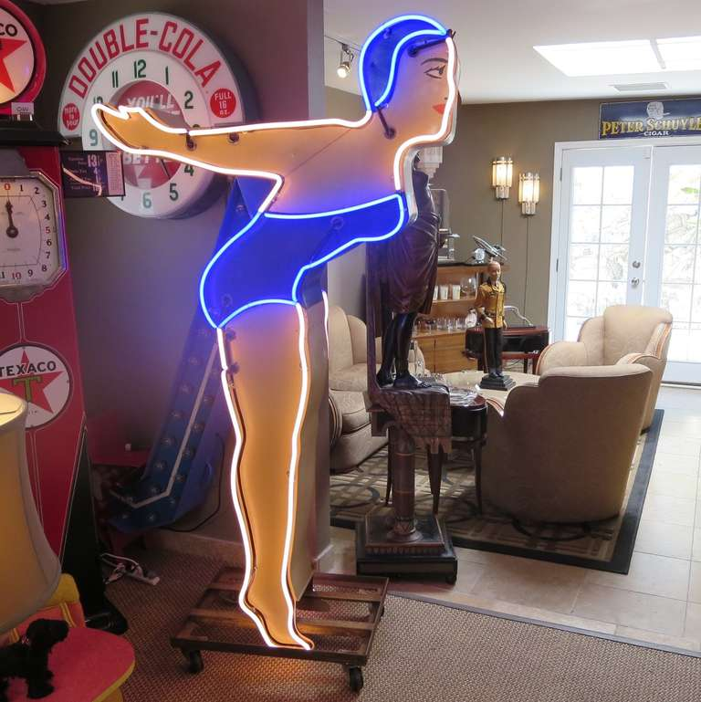 Large Neon Diving Girl Motel Sign 2