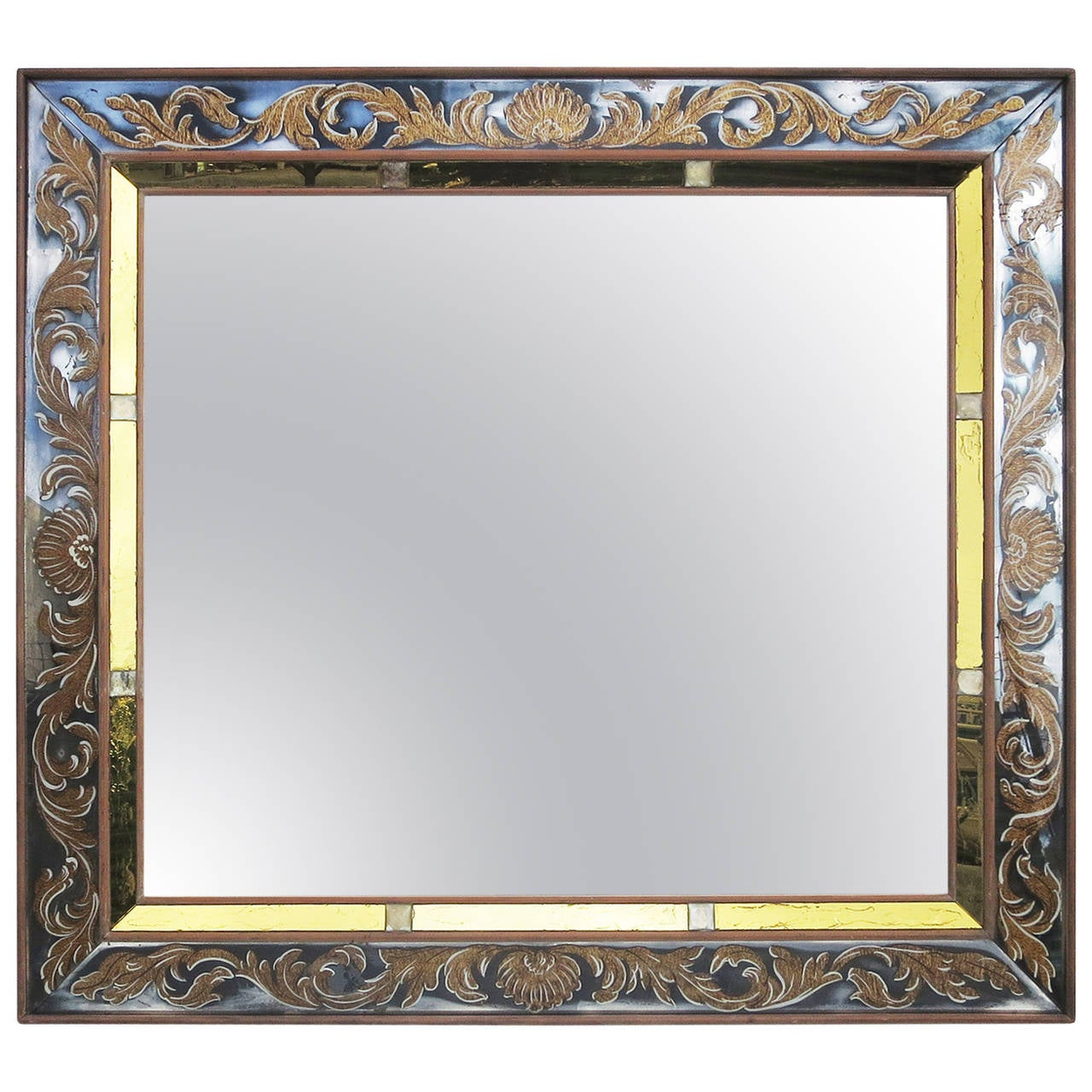 Grand Wall Mirror With Églomisé Painted Frame For