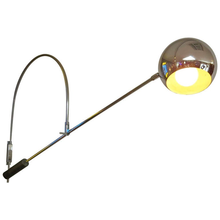 Wall Mounted Adjustable Lamps : Adjustable Orb Wall Mounted Lamp In The Style Of Robert Sonneman For Sale at 1stdibs