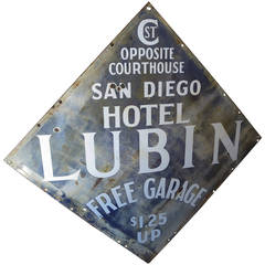 Hotel Lubin San Diego Porcelain Enamel Sign