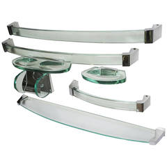 Fontana Arte Glass and Chrome Bath Accessory Set