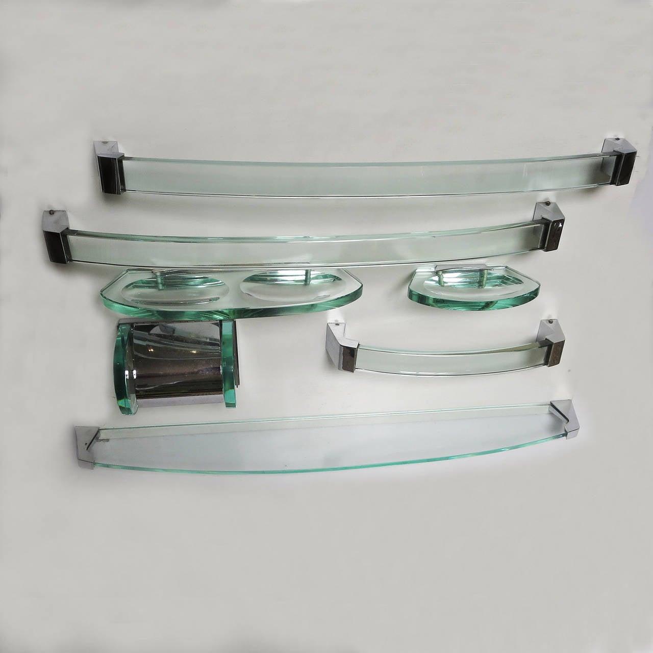 Fontana Arte Glass And Chrome Bath Accessory Set At 1stdibs